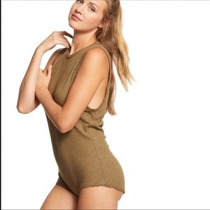 FREE PEOPLE All The Time Bodysuit Army Green SZ M